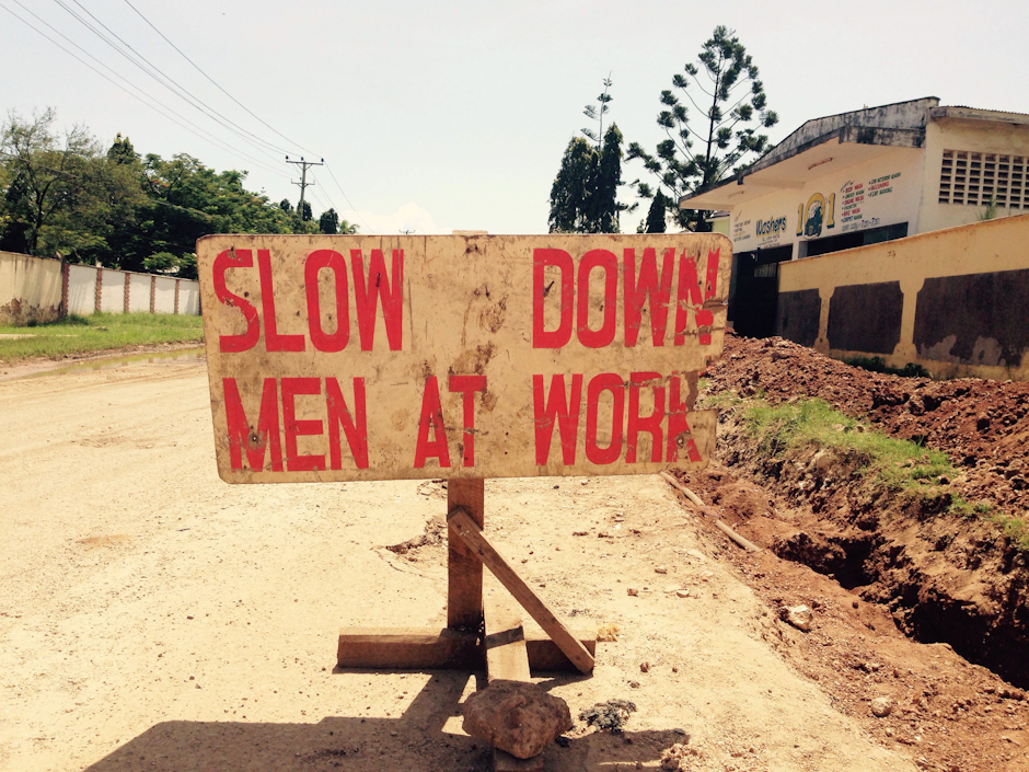 Slow down, men at work - Nyali, Mombasa