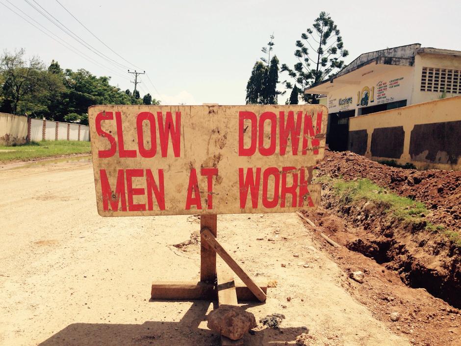 Slow down, men at work - Nyali, Mombasa