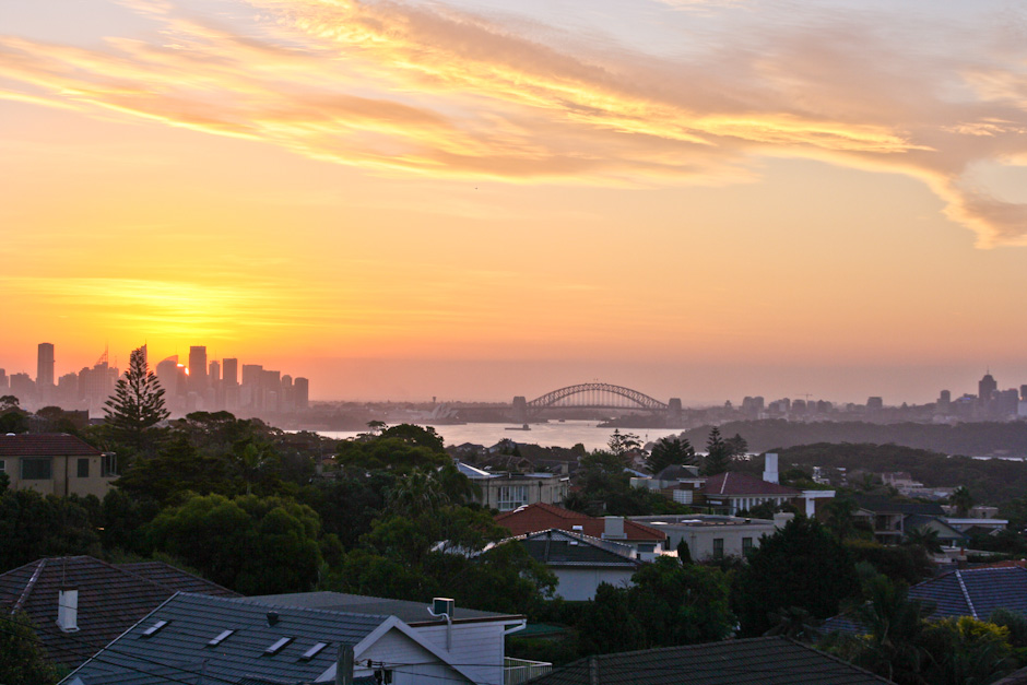 Sonnenuntergang über Sydney, The Gap, Watsons Bay